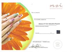 Международный диплом NSI - специальность мастер-стилист по моделированию ногтей