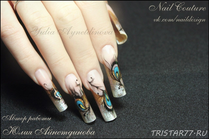 Дизайн ногтей с перьями павлина 35