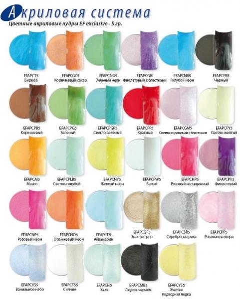 Купить Зелёный матовый акрил 5гр Pure green EF EFAPCPG5, купить Цветные акриловые пудры для наращивания ногтей, Цветные акрилы н